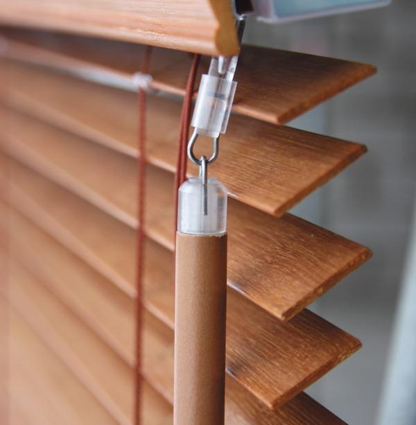 Store lamelles bois cordon-tige 50mm