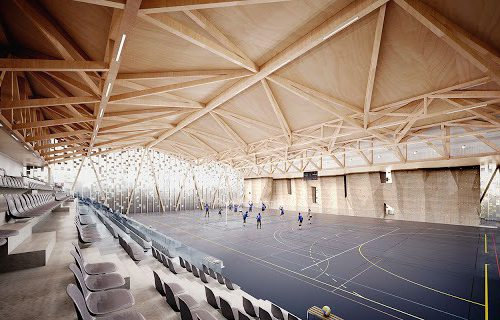 Plafond bois du complexe Danton au Havre